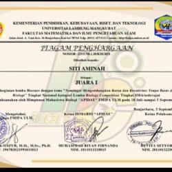 SISWA SMAN 1 MANYAR BERHASIL RAIH JUARA I DALAM OLIMPIADE BIOLOGI TINGKAT NASIONAL