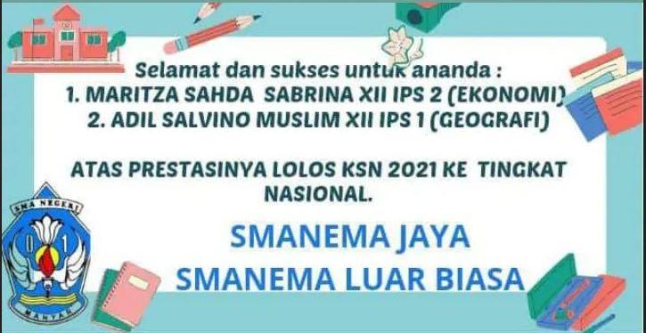 DUA SISWA SMAN 1 MANYAR LOLOS KSN TINGKAT PROVINSI 2021 MENUJU KE TINGKAT NASIONAL